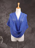 Стильный вязанный женский шарф-хомут снуд синего цвета