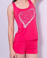 Вискозная пижама женская комплект домашний майка и шорты трикотажные