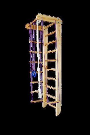 Шведская стенка с турником и веревочным набором (Сосна) ширина стенки 70см, фото 2