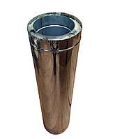 Труба для дымохода из нержавеющей стали с теплоизоляцией в нержавеющем кожухе l 500мм d 100/160мм s 0,8/0,5мм