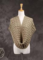 Стильный вязанный женский шарф-хомут снуд цвета хаки