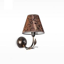 Настенный светильник, бра одноламповое флористика с абажуром 11601-1