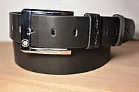 Ремень мужской кожаный 120х4см. Брючный, джинсовый ремень №19