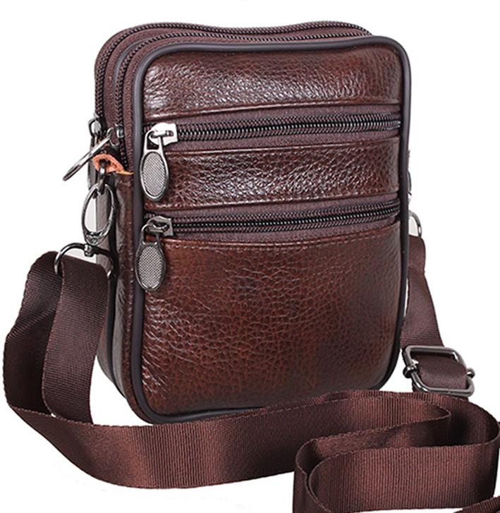 be7ac76e3881 Кожаная мужская сумка через плечо Bon 9950 коричневая барсетка на пояс  16х12х5см