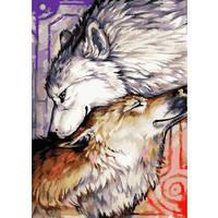 """Картина по номерам - Тварини, птахи """"Пара вовків 3"""" 35х50см."""