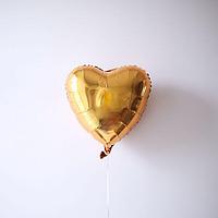 Фольгированные воздушные шары, форма:сердце, цвет: золото, 18 дюймов