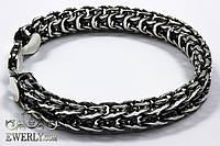 Браслет из серебра - двустороннее плетение Фантом (Рамзес + Двойной ручеёк) (49.6 г)