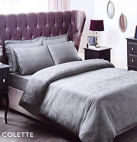 Постельное белье Tac жаккард Colette серый евро размера