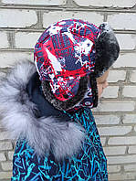 """Детская зимняя шапка (флис) на мальчика """"Принт"""" 50, 52, 54 размер.Теплая шапка детская на мальчика.Шапка зима"""