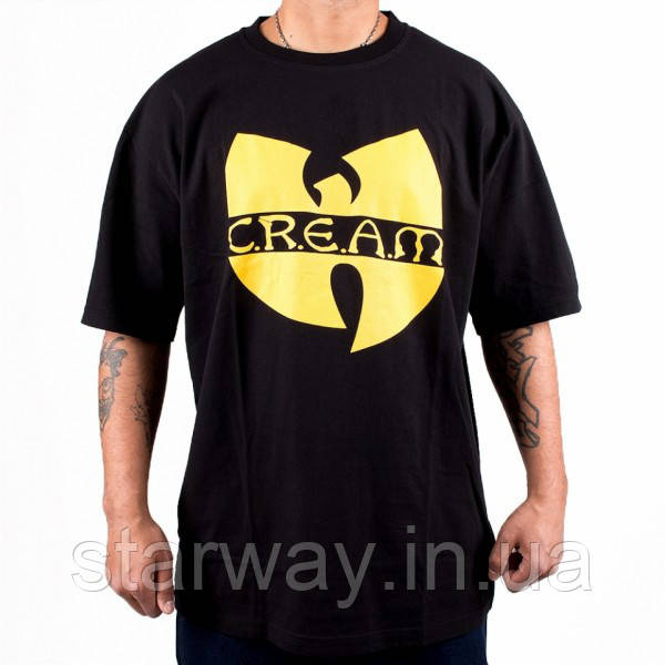 Футболка чёрная принт Wu Tang cream | Стильная