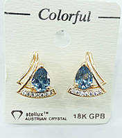 56 Позолоченная бижутерия, серьги Colorful с голубыми австрийскими кристаллами
