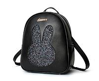 Рюкзак женский кожзам c блестками Rabbit Черный, фото 1