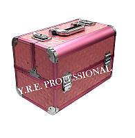 Чемодан металлический раскладной, маникюрная сумка для мастера, розовый
