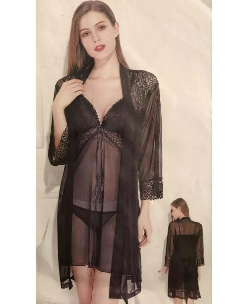 Эротический комплект кружевная накидка сорочка и стринги