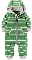 Флисовый зеленый комбинезон Carter's для мальчика 6мес, 9мес, 12мес, 18мес