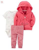 Набор для младенцев carters 3 предмета с флисовым кардиганом