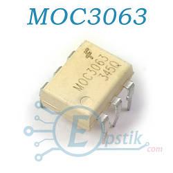MOC3063, оптопара с симисторным выходом 600В, DIP6