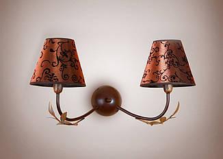 Настенный светильник, бра 2-х ламповое флористика с абажурами   11602
