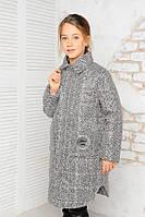 Куртка весенняя для девочки «Алиса», серый принт