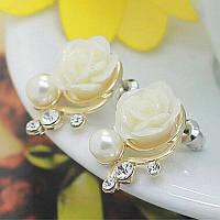 Нежные серьги женские Белая Роза