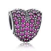 "Шарм Pandora Style (стиль Пандора)  ""Пурпурное сердце"" паве"