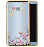 Чехол с цветами и стразами Xiaomi Mi Note 2 (Gold)
