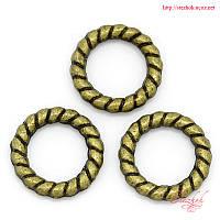 Кольцо круглое 10мм жгут бронза для рукоделия