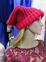 Женская супермодная красная шапка крупной вязки