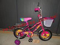Детский двухколесный велосипед winx 14 дюймов с корзинкой