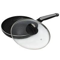 Сковорода Kamille 24см с мраморным покрытием и крышкой