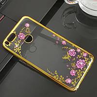 Чехол с цветами и стразами Xiaomi Mi 5X / Mi A1 (Gold)