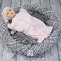 """Трикотажная пеленка на молнии """"Горошек"""" 0-3 мес. для новорожденных"""