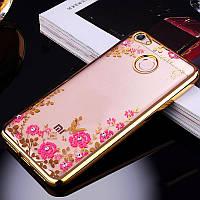 Чехол с цветами и стразами Xiaomi Redmi Note 5A / Redmi Y1 Lite (Gold)