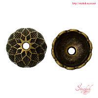 Шапочки для бусин 14мм бронза фурнитура для украшений
