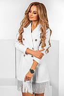 Платье -пиджак с бахромой 34- 1136
