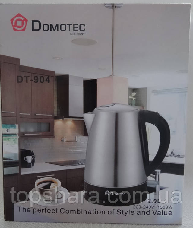 Электрочайник Domotec DT-904 нержавейка 2 литра 1500 вт.