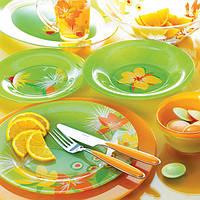 Посуда для сервировки стола Luminarc POP FLOWERS Green/Orange  46 приборов