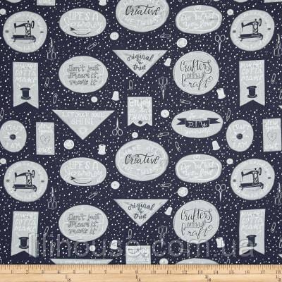 """Ткань для пэчворка и рукоделия американский хлопок """"Creative на сером"""" - 24*55 см"""