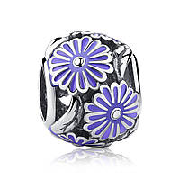 """Шарм Pandora Style (стиль Пандора) """"Сиреневые цветы"""""""