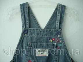 """Короткий комбинезон для девочки 18 месяцев """"Цветочки"""" OshKosh деним (комбінезон короткий для дівчинки 18 міс), фото 2"""