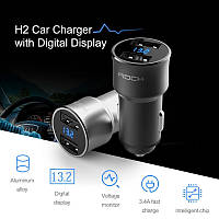 Rock H2 автомобильное зарядное устройство Car Charger with Digital Display 5V 3.4A Black, фото 1