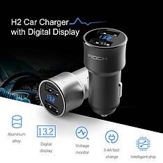 Rock H2 автомобильное зарядное устройство Car Charger with Digital Display 5V 3.4A Black