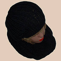 Вязаный шарф - снуд классического черного цвета