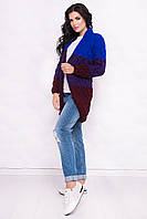 Вязаный женский кардиган Лало меланж трехцветный электрик + бордо