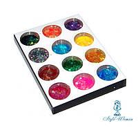 Набор для декора, дизайна ногтей пайетки цветные 12шт упаковка