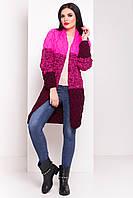 Вязаный женский кардиган Лало меланж трехцветный малина + бордо