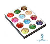 Набор для декора, дизайна ногтей лепесток цветной 12шт упаковка