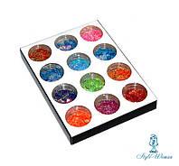 Набор для декора, дизайна ногтей конфетти голограмма 12шт упаковка