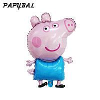 Фольгированный фигурный шар свинка пеппа в синем 81 см.