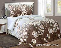 Ветка сакуры беж, Комплект постельного белья из белорусской бязи